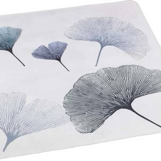 Bílo-modrá koupelnová podložka Wenko Ginkgo, 54x54cm