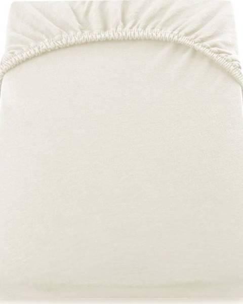 DecoKing Krémově bílé džersejové prostěradlo DecoKing Amber Collection, 200/220 x 200 cm