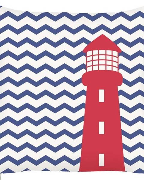 Mike & Co. NEW YORK Modrý povlak na polštář Mike&Co.NEWYORK Lighthouse, 43 x 43 cm