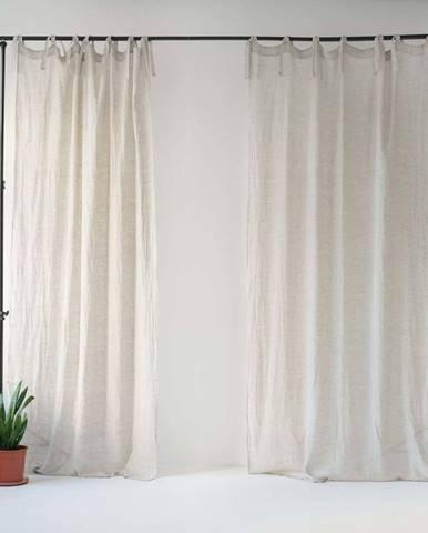 Béžový lněný lehký závěs s poutky Linen Tales Daytime, 250x130cm