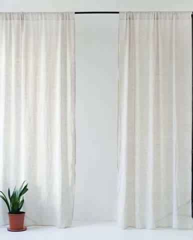 Béžový lněný lehký závěs s tunýlkem Linen Tales Daytime, 250x130cm
