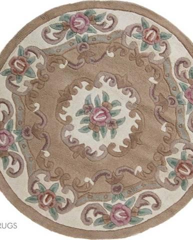 Béžový vlněný koberec Flair Rugs Aubusson, ⌀ 120 cm
