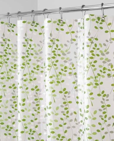 Bílo-zelený sprchový závěs iDesign Vine, 183x183cm