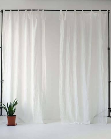 Bílý lněný lehký závěs s poutky Linen Tales Daytime, 250x130cm