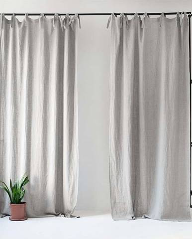 Světle šedý lněný závěs s poutky Linen Tales Night Time, 250x140cm