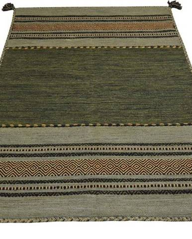 Zelený bavlněný koberec Webtappeti Antique Kilim, 60 x 240 cm