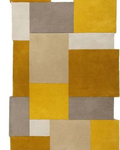 Žluto-béžový vlněný koberec Flair Rugs Collage, 120 x 180 cm