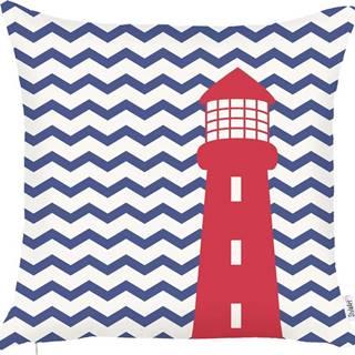 Modrý povlak na polštář Mike&Co.NEWYORK Lighthouse, 43 x 43 cm