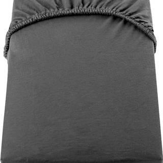 Tmavě šedé elastické džersejové prostěradlo DecoKing Amber Collection, 120/140 x 200 cm