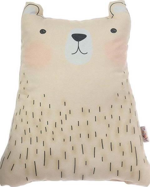 Mike & Co. NEW YORK Hnědý dětský polštářek s příměsí bavlny Mike&Co.NEWYORK Pillow Toy Bear Cute, 22 x 30 cm