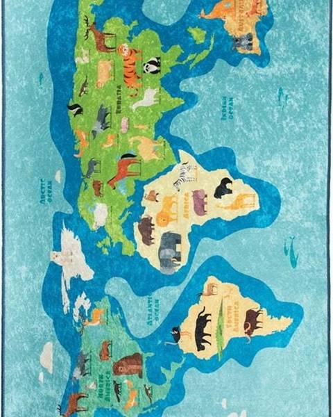 Chilai Modrý dětský protiskluzový koberec Chilai Map,140x190cm