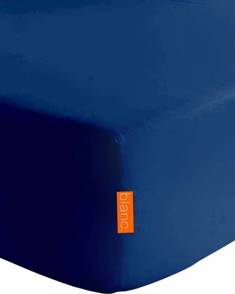 Happy Friday Basic Tmavě modré elastické prostěradlo z čisté bavlny Happy Friday Basic, 90x200cm