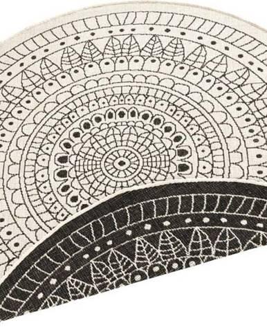 Černo-krémový venkovní koberec Bougari Porto, ⌀ 140 cm