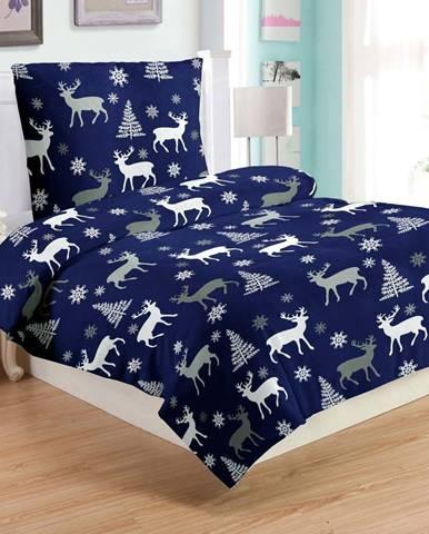 Modré mikroplyšové povlečení My House Deer, 140 x 200 cm
