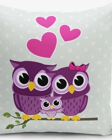 Povlak na polštář s příměsí bavlny Minimalist Cushion Covers Hearts Owls, 45 x 45 cm