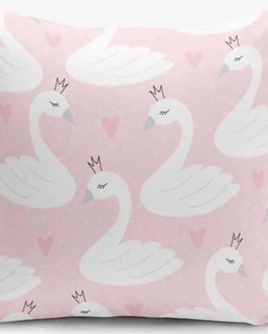 Povlak na polštář s příměsí bavlny Minimalist Cushion Covers Pink Puan Animal Theme, 45 x 45 cm