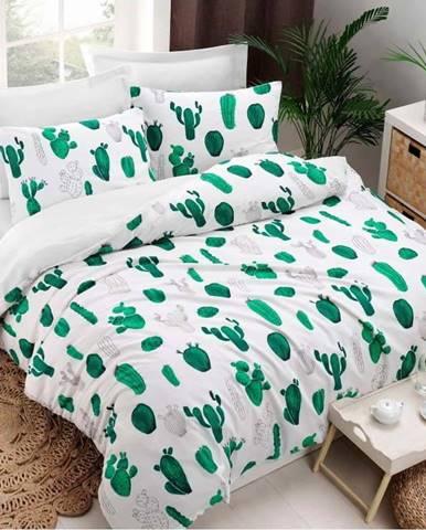 Povlečení s prostěradlem s příměsí bavlny na dvoulůžko Kaktus Green, 200 x 220 cm