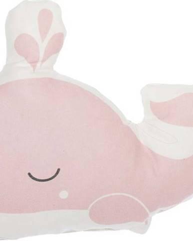 Růžový dětský polštářek s příměsí bavlny Mike&Co.NEWYORK Pillow Toy Whale, 35 x 24 cm
