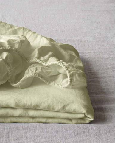 Světle zelené lněné elastické prostěradlo Linen Tales, 90 x 200 cm