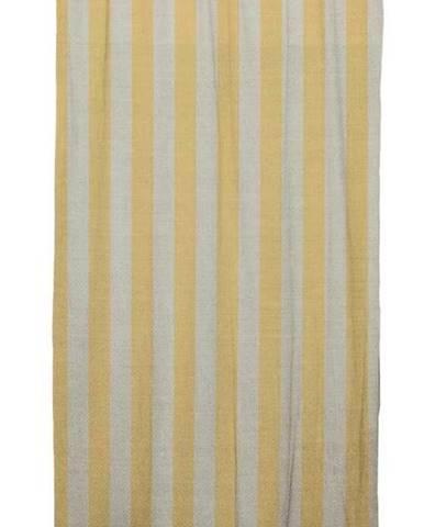 Žlutý závěs Linen Cuture Cortina Hogar Yellow Stripes