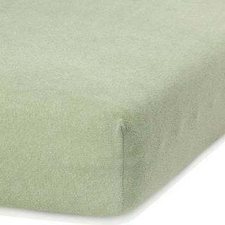 Olivově zelené elastické prostěradlo s vysokým podílem bavlny AmeliaHome Ruby, 80/90 x 200 cm