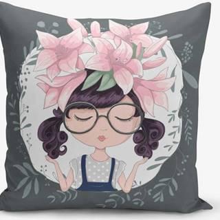 Povlak na polštář s příměsí bavlny Minimalist Cushion Covers Flower and Girl, 45 x 45 cm