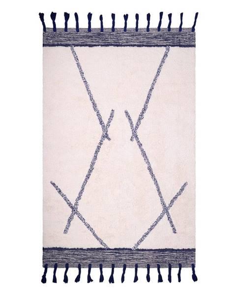 Nattiot Bílo-šedý bavlněný ručně vyrobený koberec Nattiot Shaanti,110x170cm
