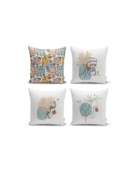 Minimalist Cushion Covers Sada 4 dekorativních povlaků na polštáře Minimalist Cushion Covers Minimalist Face,45x45cm