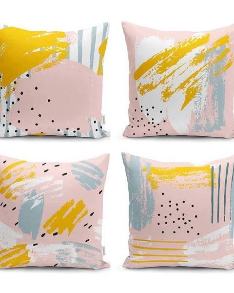 Minimalist Cushion Covers Sada 4 dekorativních povlaků na polštáře Minimalist Cushion Covers Pastel Design,45x45cm
