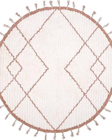 Bílo-hnědý bavlněný ručně vyrobený koberec Nattiot,ø120cm