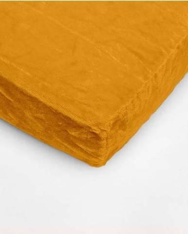 Medově žluté mikroplyšové prostěradlo My House, 180 x 200 cm