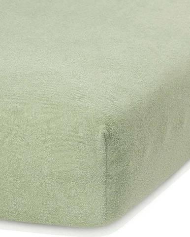 Olivově zelené elastické prostěradlo s vysokým podílem bavlny AmeliaHome Ruby, 100/120 x 200 cm