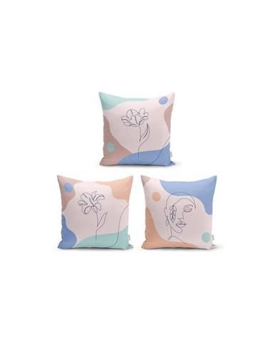 Sada 3 dekorativních povlaků na polštáře Minimalist Cushion Covers Colorful Flower,45x45cm