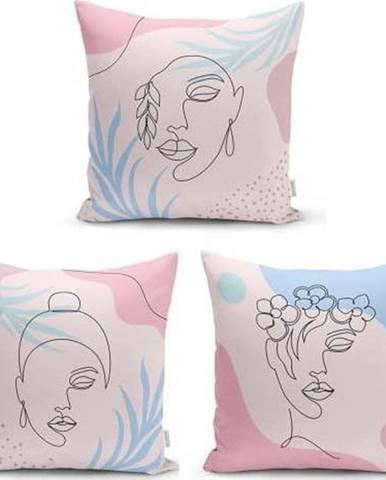 Sada 3 dekorativních povlaků na polštáře Minimalist Cushion Covers Minimalist Face,45x45cm