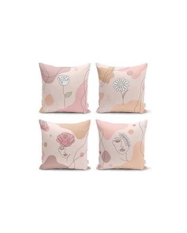 Sada 4 dekorativních povlaků na polštáře Minimalist Cushion Covers Draw Art Women,45x45cm