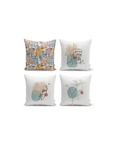Sada 4 dekorativních povlaků na polštáře Minimalist Cushion Covers Minimalist Face,45x45cm