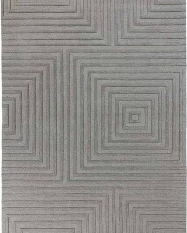 Šedý vlněný koberec Flair Rugs Estela, 120 x 170 cm