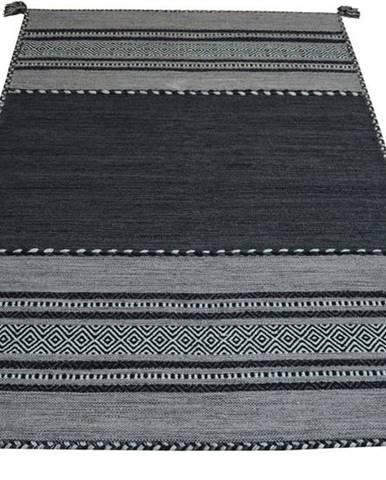Tmavě šedý bavlněný koberec Webtappeti Antique Kilim, 160 x 230 cm