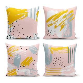Sada 4 dekorativních povlaků na polštáře Minimalist Cushion Covers Pastel Design,45x45cm