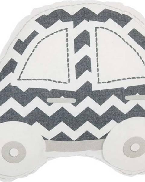 Mike & Co. NEW YORK Šedo-bílý dětský polštářek s příměsí bavlny Mike&Co.NEWYORK Pillow Toy Car, 32 x 25 cm