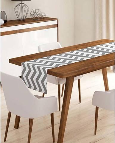 Běhoun na stůl z mikrovlákna Minimalist Cushion Covers Grey Stripes, 45x140cm