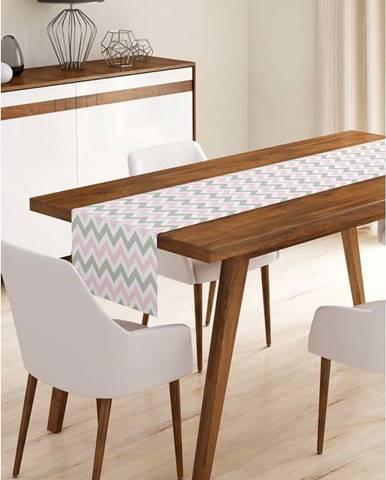 Běhoun na stůl z mikrovlákna Minimalist Cushion Covers Pinky Grey Stripes, 45x140cm