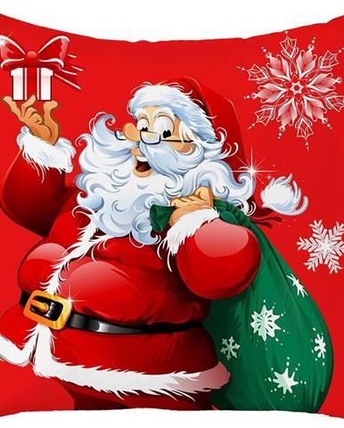 Červený vánoční povlak na polštář Mike&Co.NEWYORK Honey Christmas Santa Claus, 45 x 45 cm