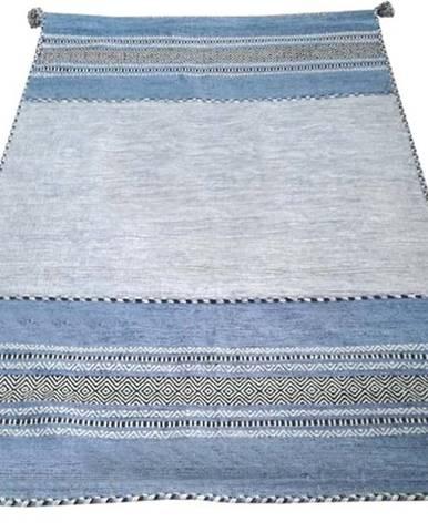 Modro-šedý bavlněný koberec Webtappeti Antique Kilim, 60 x 200 cm