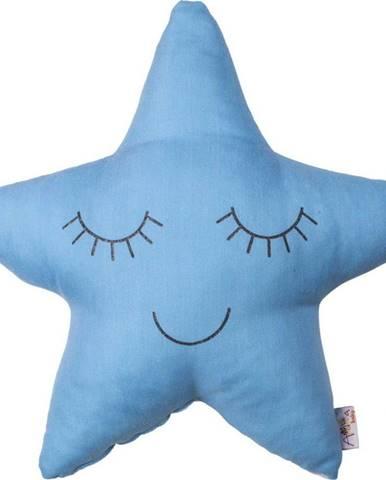 Modrý dětský polštářek s příměsí bavlny Mike&Co.NEWYORK Pillow Toy Star, 35 x 35 cm