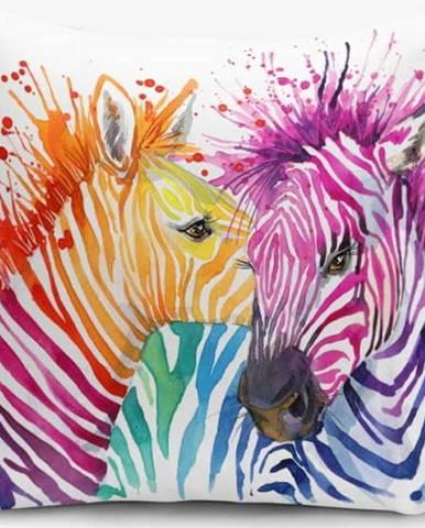 Povlak na polštář s příměsí bavlny Minimalist Cushion Covers Colorful Zebras Oleas, 45 x 45 cm