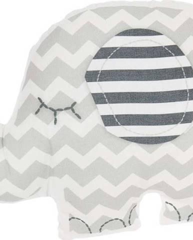 Šedý dětský polštářek s příměsí bavlny Mike&Co.NEWYORK Pillow Toy Elephant, 34 x 24 cm