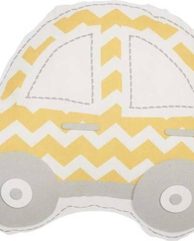 Žluto-šedý dětský polštářek s příměsí bavlny Mike&Co.NEWYORK Pillow Toy Car, 32 x 25 cm
