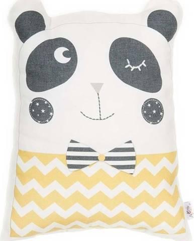 Žlutý dětský polštářek s příměsí bavlny Mike&Co.NEWYORK Pillow Toy Panda, 25 x 36 cm