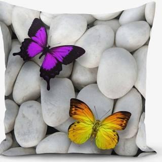 Povlak na polštář s příměsí bavlny Minimalist Cushion Covers Double Butterfly, 45 x 45 cm